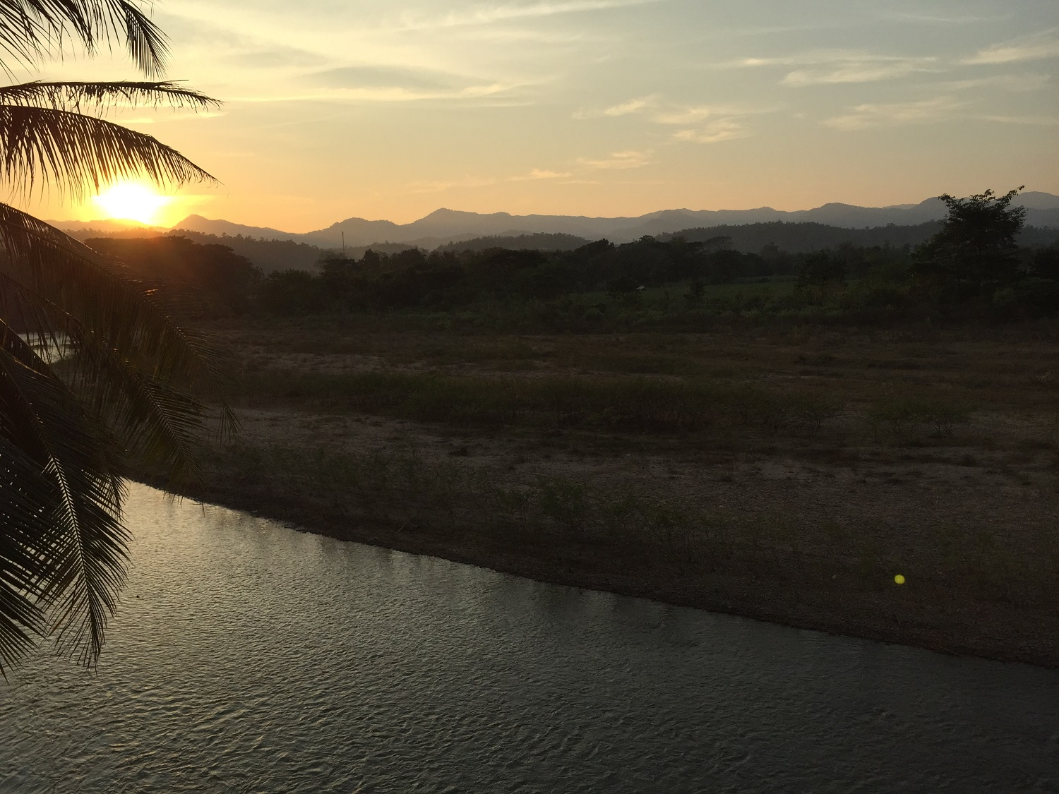 river in Mae Sariang at sunset