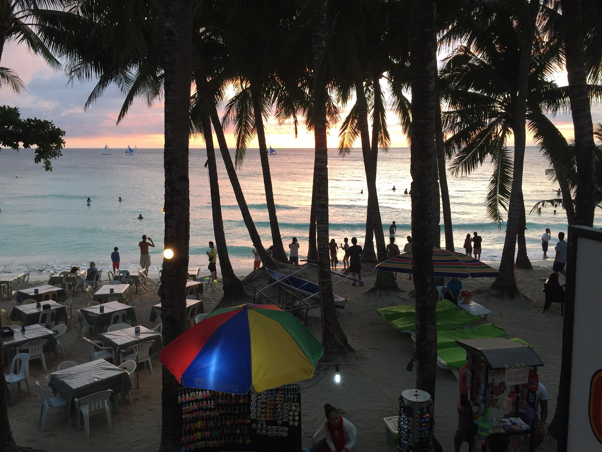 sunset in Boracay from Real Coffee, White Beach, Philippines