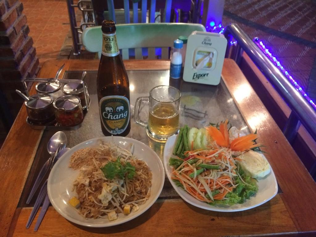 pad thai and som tam in Ao Nang, Thailand