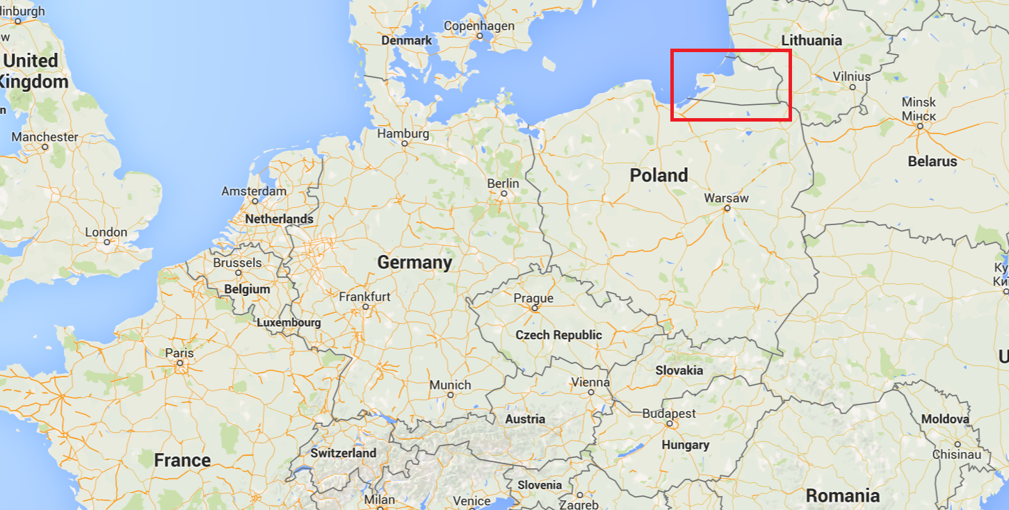 map of Kaliningrad, Russia in Europe