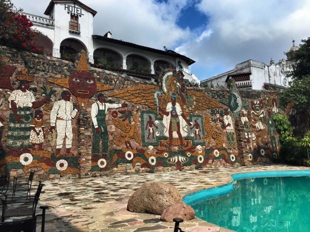 Juan O'Gorman mural in Taxco at hotel posada de la mision