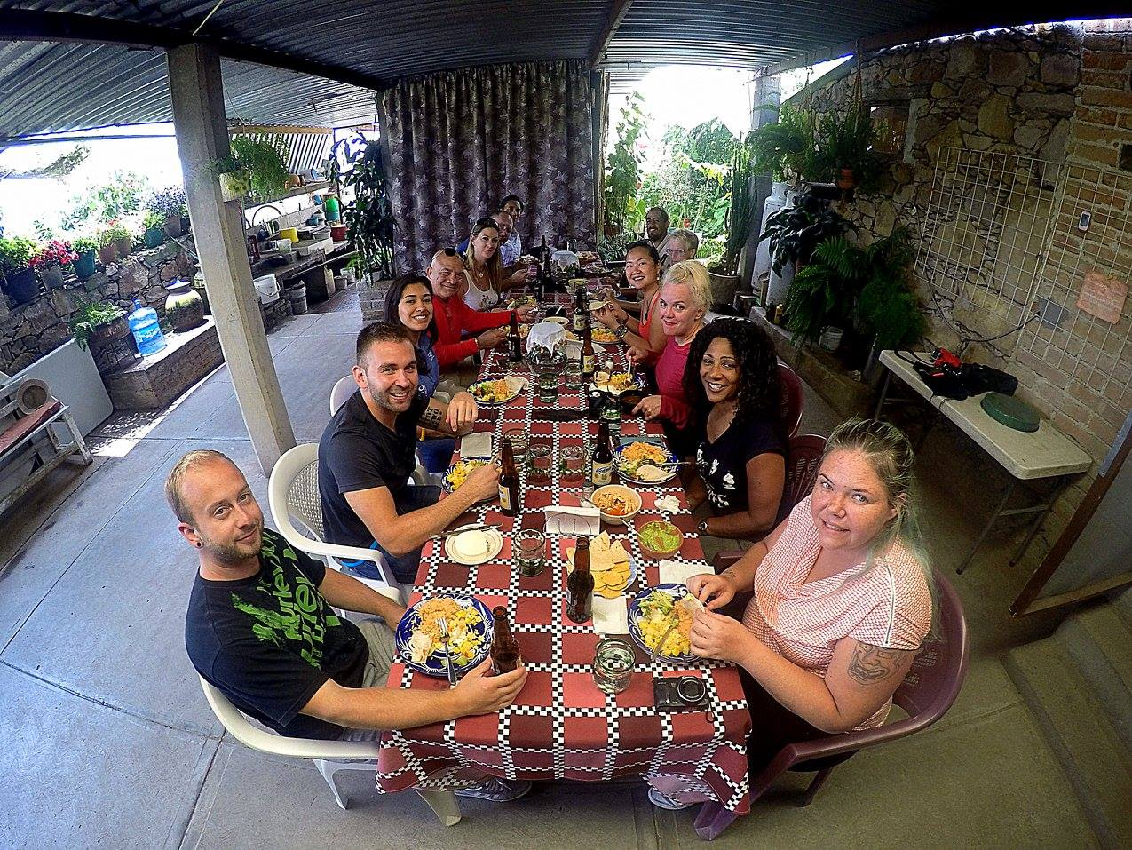 eating lunch at the ranch in Guanauato