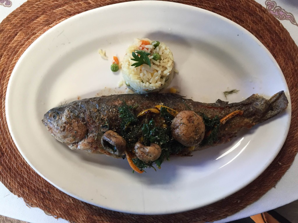 trout at a restaurant in mineral de chico, mexico