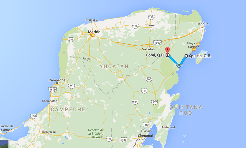our route on our motorcycle ride in Mexico
