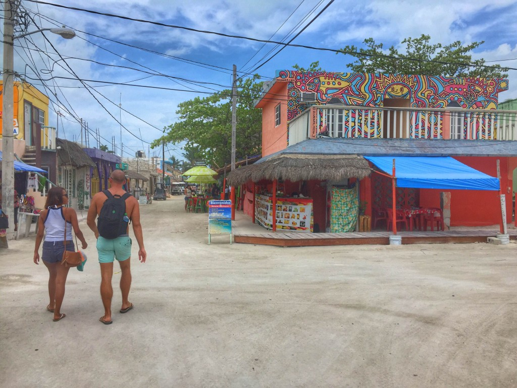 the town in Holbox, Mexico