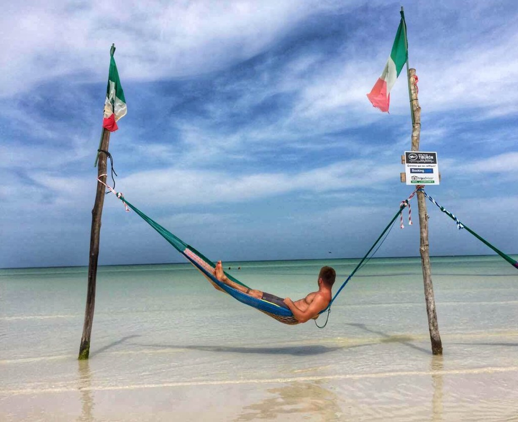 hammocks over the water in isla holbox