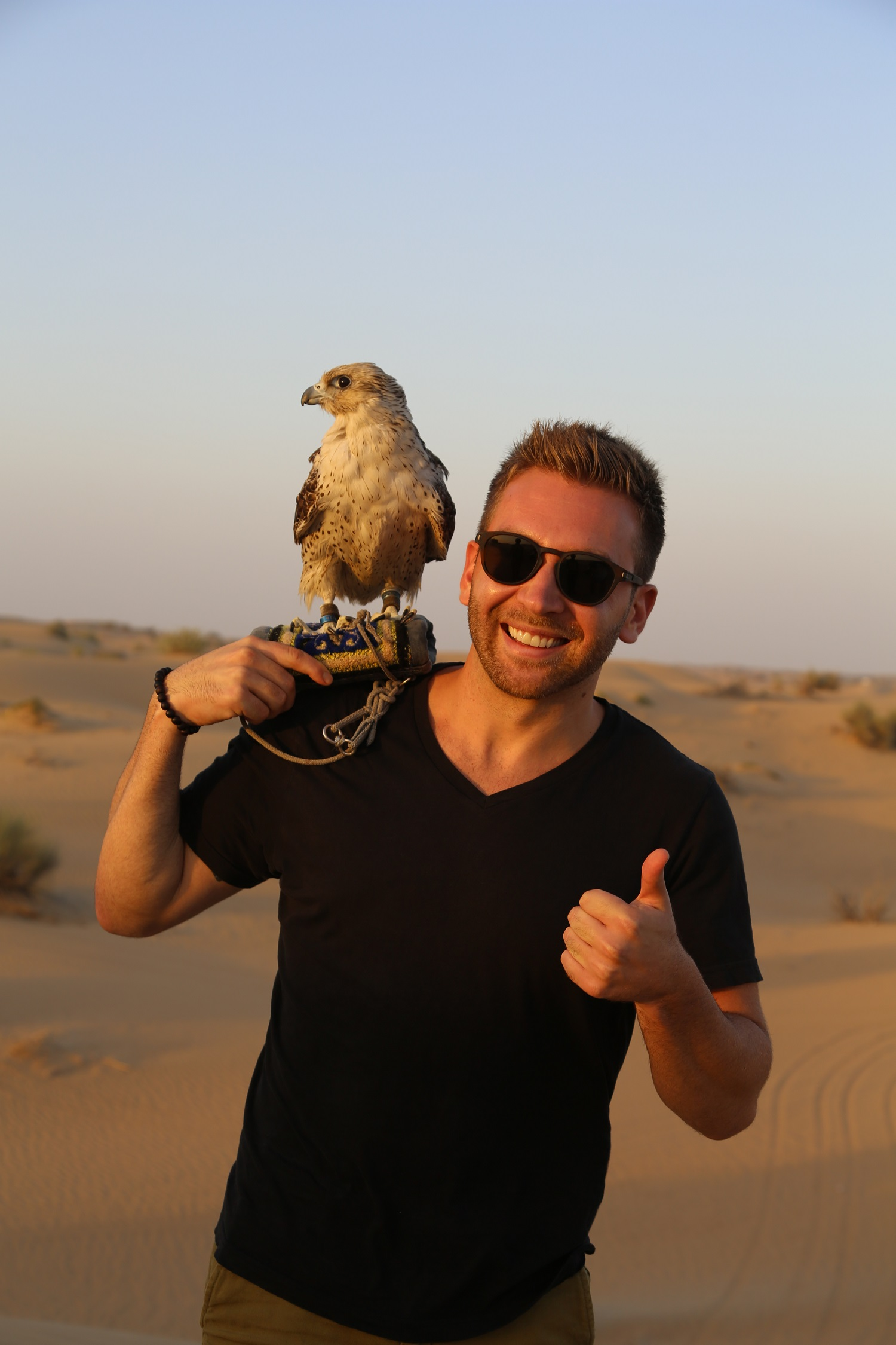 holding a falcon on my desert Safari Dubai