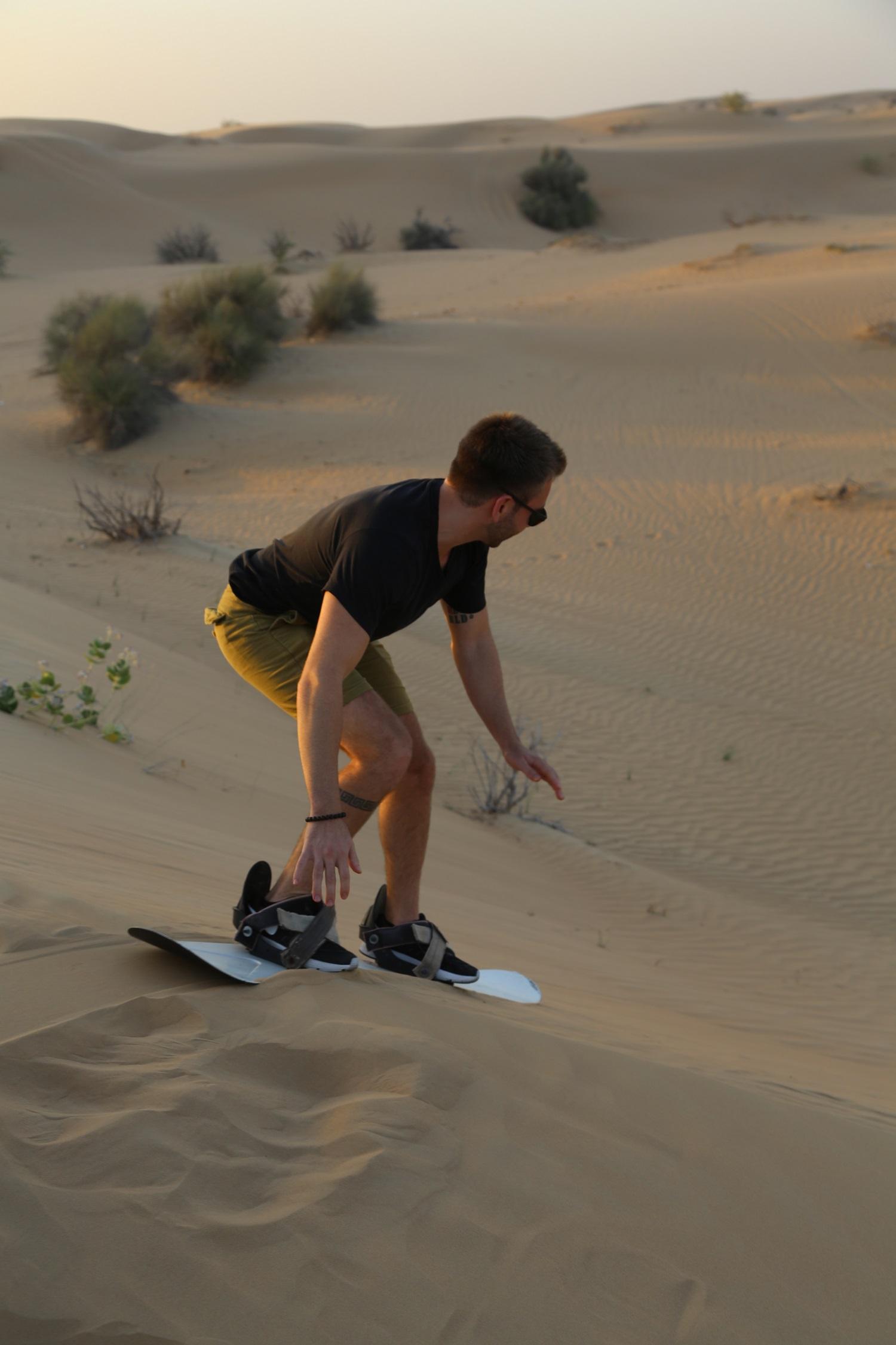 sandboarding on desert safari dubai