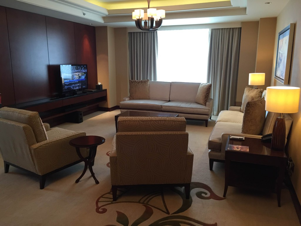 living room in an executive suite at the Conrad hotel in Dubai