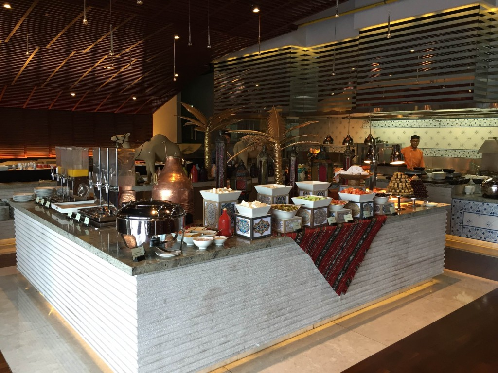 breakfast buffet at the Conrad Hotel in Dubai
